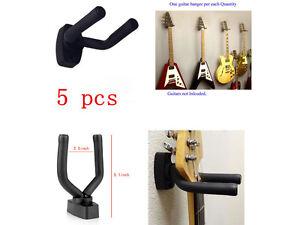 5Pcs Guitar Hanger Hooks Holder Wall Mount For Guitar Violin Ukulele Bass Black