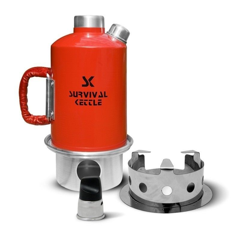 Survival Kettle Set Camping Kettle and Camp Stove Red 1.2 L