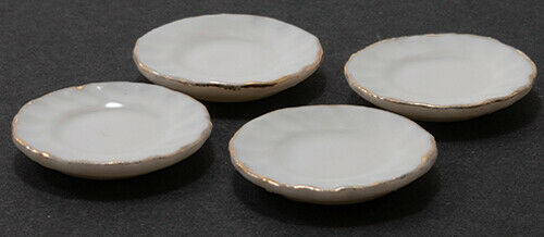 4PC #IM65638 Dollhouse Miniatures 1:12 Scale Gold Edge White Fluted Plates