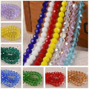 US 100PCs Wholesale Crystal Glass Faceted Round Beads 6mm