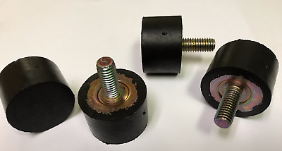 "SET OF 4 ADJUSTABLE RUBBER BUMPER FEET LEVELERS 3/8-16 THREAD 1 1/2"" X 1"" RUBBER"