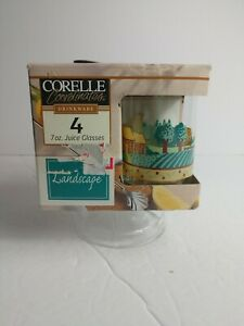 Vintage-Corelle-034-Landscape-034-Juice-Glasses-7oz-Set-of-4-New-In-Box-1997