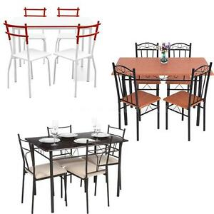 iKayaa 5 Piece Dining Set Table and 4 Chairs Kitchen Room Breakfast ...