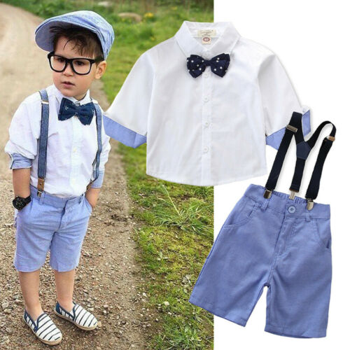2PCS Children Toddler Kids Baby Boys Outfit Set Tops+Shorts Pants Gentleman Suit