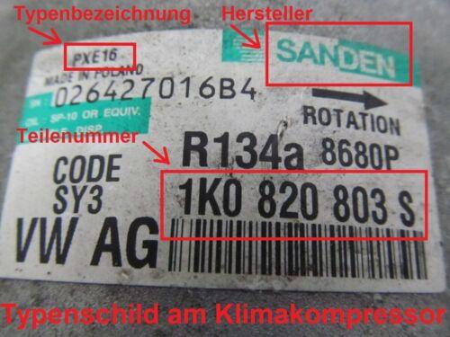 TRASCINATORE PULEGGIA VW AUDI compressore clima per SANDEN 5k0820803c 5n0820803c