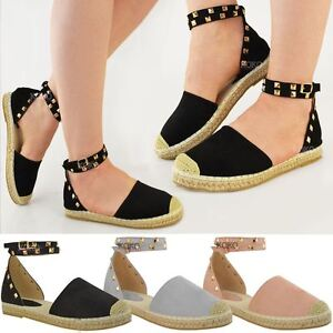4a901e88a743e2 Image is loading Womens-Ladies-Studded-Espadrilles-Flats-Ankle-Strappy- Sandals-