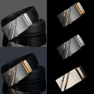 Luxury-Men-039-s-Genuine-Leather-Alloy-Automatic-Buckle-Waistband-Belts-Waist-Strap