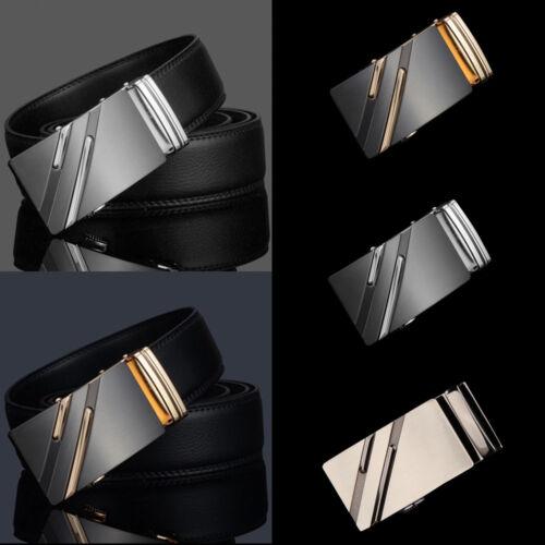 Luxury Mens Genuine Leather Ratchet Belt Automatic Buckle Waistband Waist Strap