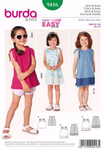 Burda Kids Sewing Pattern Easy Girls Top Shirt & Dress Sizes 2 - 8 ...