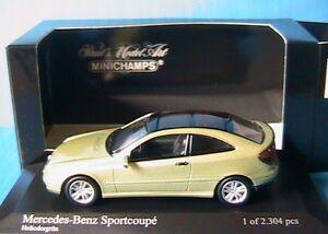 Mercedes Benz Classe C Coupé 2001 Métal Vert Clair Minichamps 430030001 1/43