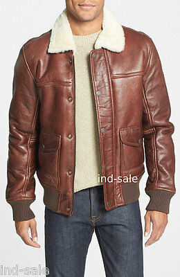 Crazy Horse Distressed Leather Collar Fur Custom Tailor Made Jacket Bomber WW2
