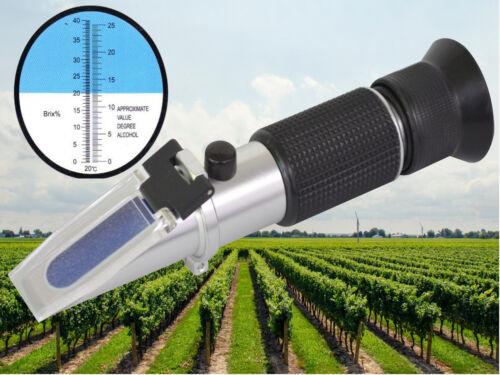 Refraktometer Wein Winzer Bier Alkohol Zucker Gehalt Brix 0-25/% 0-40/% Alkohol