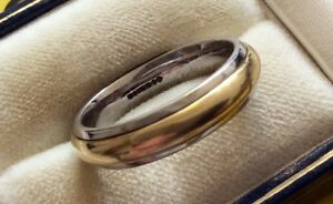 Very-High-Quality-Gents-Solid-Very-Heavy-18ct-Two-Colour-Gold-Wedding-Band-S