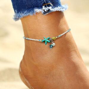Beaded Anklet Summer Beach Starfish Conch Shell Ankle Bracelet