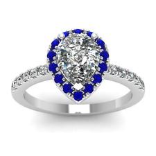 Women Water Drop Shape White Sapphire 925 Silver Fashion Wedding Ring Size 10