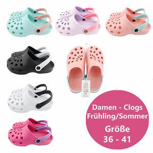 Damen Clogs  Hausschuhe Pantoletten Slipper Garten Schlappen Freizeit Schuhe