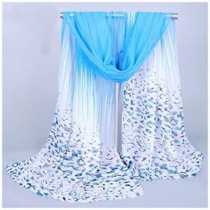 destockage foulard écharpe neuf mousseline de soie léopard bleu ... f342375f8d6