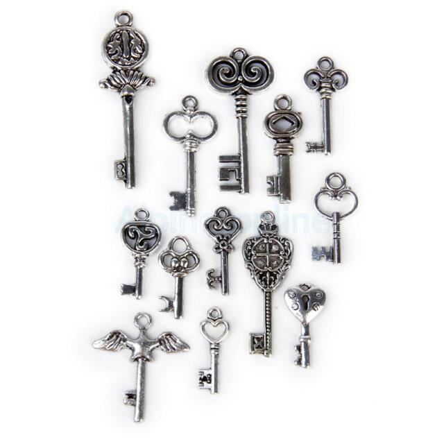 13pcs Alloy Key Shape Findings Pendant Beads for Jewelry Making Craft DIY Silver