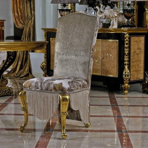 8 Chairs Set Dining Room Designer Wood Antique Style Baroque Rococo E61