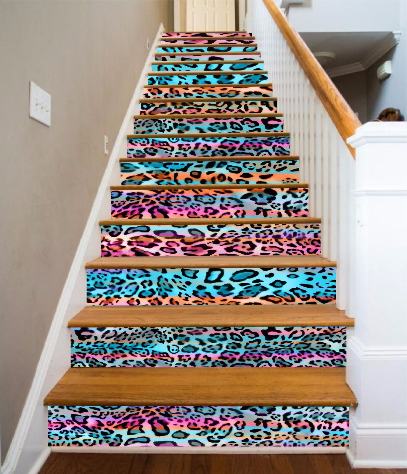 3D Farbe Leopard 52 Stair Risers Decoration Photo Mural Vinyl Decal Wallpaper UK