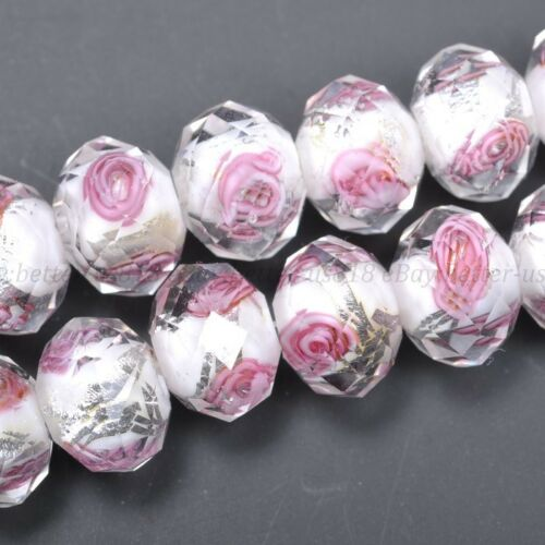 10//20Pcs Faceted Lampwork Glass Charms Rose Flower Finding Loose Beads 12X8MM