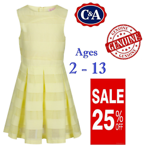EX C/&A Ages 2-13 Girls Yellow Summer Dress Layered Pleated Jahre 100/% Cotton