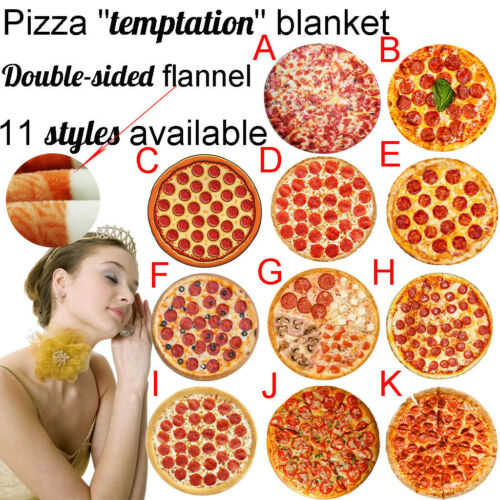 Comfort Double-sided Flannel Pizza Hamburger Wrap Blanket Round Towels Blankets