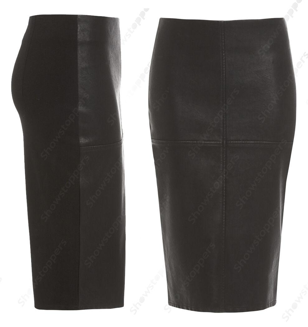 nyA kvinnor Faux läder Panel Pencil kjolsstorlek 8 10 12 14 Inspirerad av butik