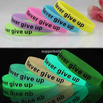 Never give up Silicone Wristband Noctilucent Bracelet Bangle