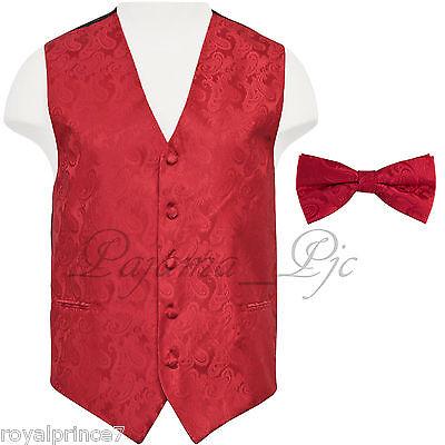 Red Paisley Vest Waistcoat Bow Tie Formal Wedding Prom Tuxedo Suit 20cc