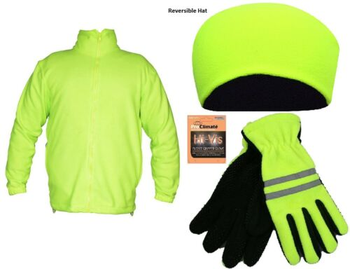 Unisex Invernale In Pile Giacca Cappello Guanti Set Cerniera Intera Top Casual Work Wear