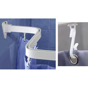 flexible duschvorhang haken schiene duschvorhang stange bis 300 cm neu flex ebay. Black Bedroom Furniture Sets. Home Design Ideas