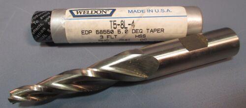 """Weldon 5° Tapered End Mill: T5-8L-4 1//4/""""DIA USA 2-1//4/""""LOC 3FL,HSS 5//8/""""SHK"""