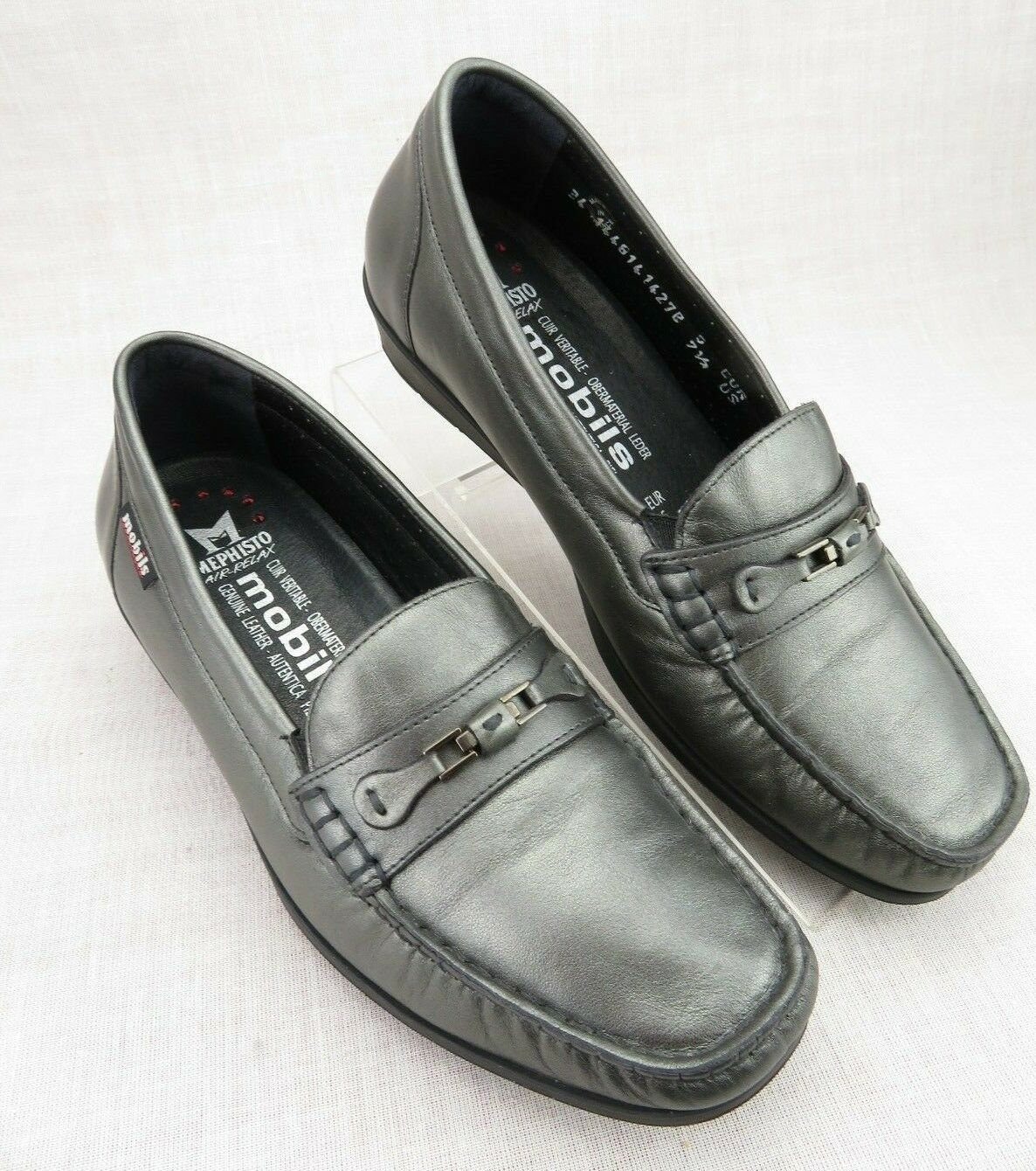 Mephisto Mobils Pewter Leather Cool-Air Slip On Horse Bit Loafer Women's US 7.5