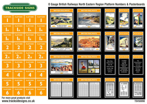 British Railways North Eastern Region Platform Numbers & Posters O Gauge