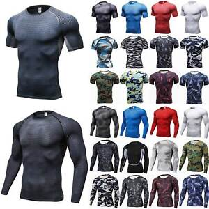 Mens Compression Skinny Base Layer Tops Short//Long Sleeve Jogging Sports T-Shirt