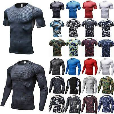 Mens Camouflage Long Sleeve Jogger Base Layer Tops Shorts Fitness Sports T-Shirt
