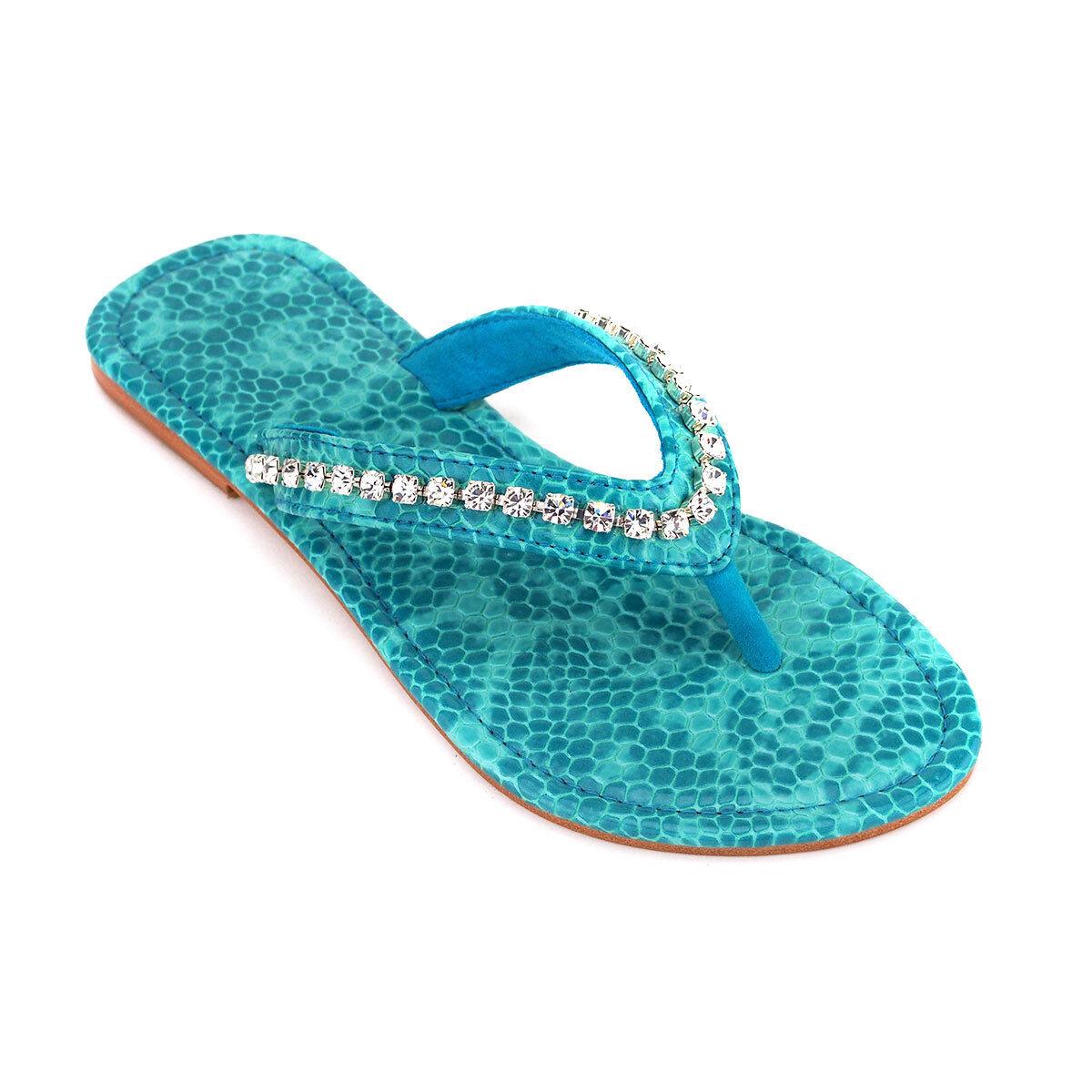 Pasha 'Tjorn' Embellished Snake-Effect Turquoise Leather Sandals