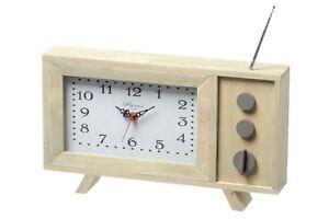 Standuhr-TV-braun-Holz-Retro-Zeitmesser-Uhrzeit-Designuhr-Nostalgie