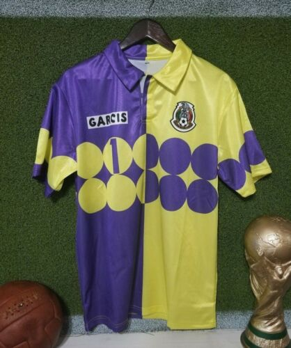 Mexico Retro Jorge Campos #1 Goalkeeper purple//lime Jersey talla Large