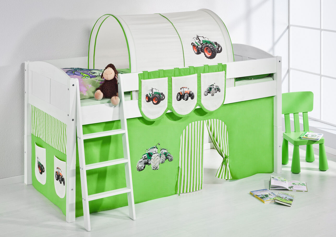 Letto Gioco Rialzato Bambini Converdeible da Singolo 4106 Lilokids Trattore verde