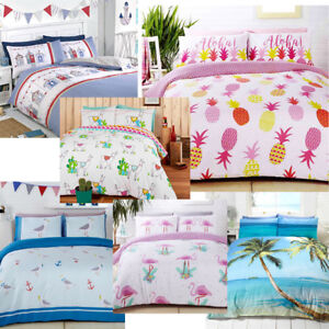 Tropical-Beach-Flamingo-Seagulls-Llamas-Summer-prints-Duvet-Quilt-Cover-Set