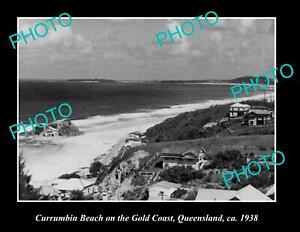 OLD-POSTCARD-SIZE-PHOTO-OF-CURRUMBIN-BEACH-ON-THE-GOLD-COAST-QLD-c1938