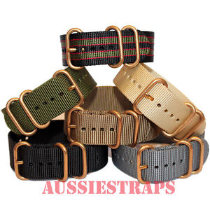 ZULU-3-Ring-Bronze-Buckle-20mm-22mm-24mm-military-divers-Nylon-watch-strap-band