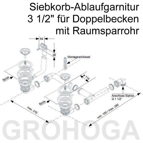 Ablaufgarnitur Korbventile Ablauf Überlauf zu Spüle 2 Becken EURODOMO SOLARIS 60