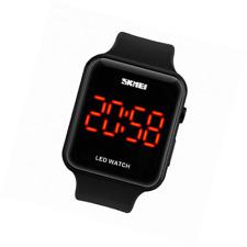 Unisex Square Large Face LED Digital Watch Electronic for Men Women Student Sili