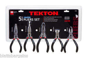 5pc-TEKTON-PRECISION-PLIER-SET-SPRING-LOADED-LINESMAN-END-NIPPER-BENT-NOSE-3592