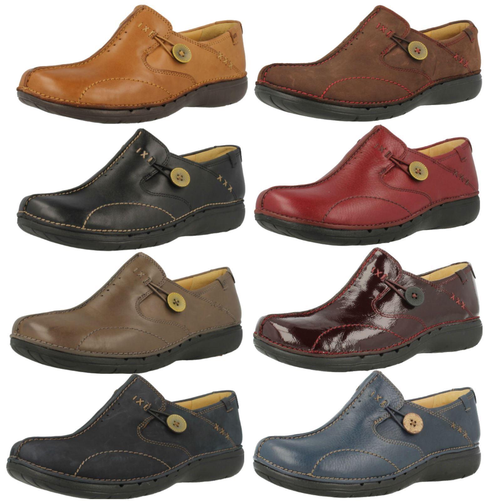 Los zapatos más populares para hombres y mujeres Descuento por tiempo limitado 'Ladies Clarks' Rounded Toe Slip On Un Structured Shoes - Un Loop