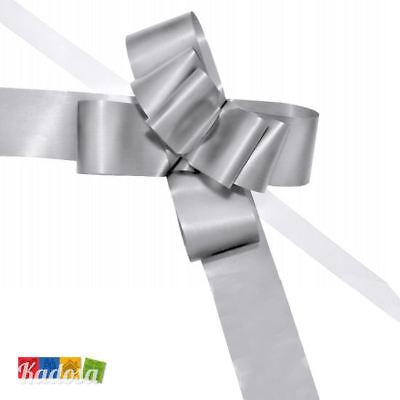 10 Pz Coccarda Fiocco Argento Auto Matrimonio Nastro Anniversario Festa Auguri