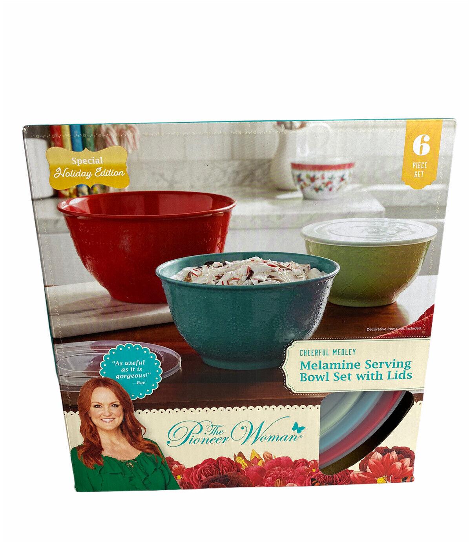 Pioneer Woman Fleur Melamine Serving Bowl Set 3 Bowls With Lids For Sale Online Ebay